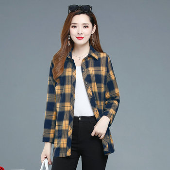 Autumn Plaid Shirt Women Red White Yellow Checked Cotton Tops Woman Plus Size Turn Down Collar Long Sleeve Shirts With Pockets girls plaid blouse 2019 spring autumn turn down collar teenager shirts cotton shirts casual clothes child kids long sleeve 4 13t