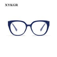 XYKGR ladies new glasses frame myopia trend cat eyes classic flat mirror optical computer reading