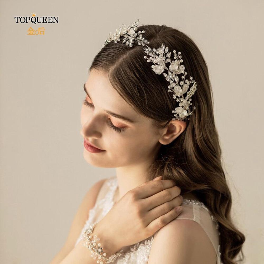 TOPQUEEN Silver Leaf Bridal Tiara Wedding Headband Pearl Hair Jewelry Luxury Clear Crystal Bridal Tiara Hair Accessories HP272