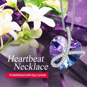 Image 2 - Cdyle romantik takı seni sonsuza kadar seveceğim Bermuda mavi kristal kalp kolye kolye açacağı zirkon onun için doğum günü hediyesi