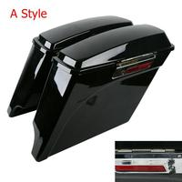 Motorcycle 5 Vivid Black Stretched Extended Hard Saddlebags For Harley Touring Road King Electra Glide Road Glide 1993 2013