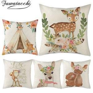Fuwatacchi lin housse de coussin dessin animé mignon Animal motif taie d'oreiller pour maison chaise canapé décoratif taies d'oreillers 45x45cm