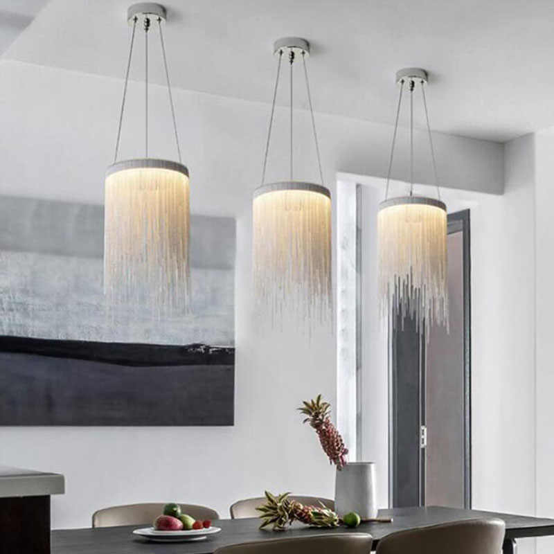 Modern Aluminium Lampu Gantung Baru Aluminium Rantai Lampu Gantung LED Cahaya Ruang Makan Ruang Tamu Kamar Tidur Lampu