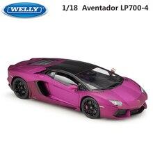 WELLY coche de carreras de Metal modelo Lamborghini para niños, juguete de coche de carreras de Metal LP700, escala 1:18
