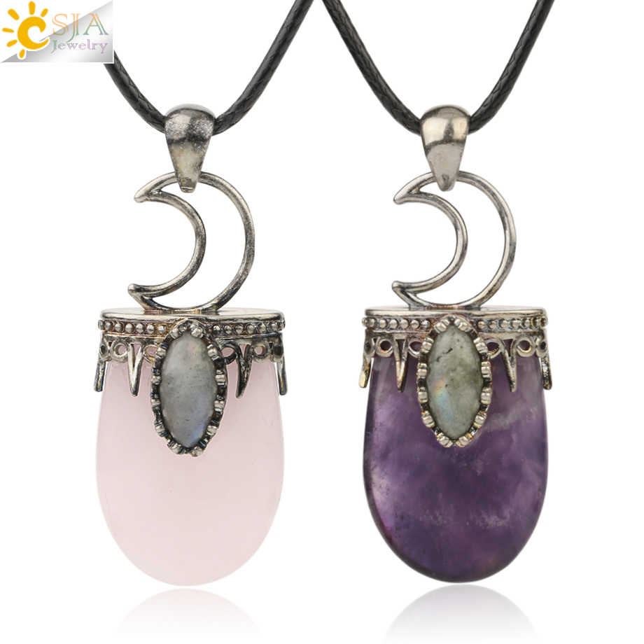 CSJA Natural Stone Necklace Pendants Vintage Purple Crystal Pink Quartz Lapis Antique Silver-color Crown Moon Charm Jewelry G274