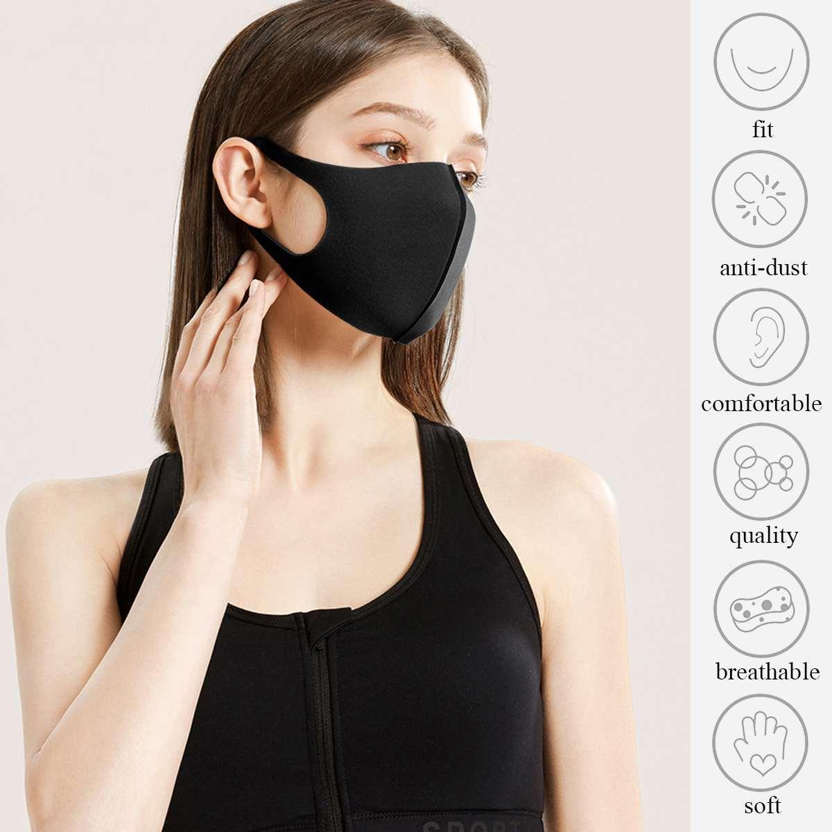 3pcs Elastic PM2.5 Black Face Mask Mouth Mask Anti Dust Mask Filter Washable Anti Fog 1
