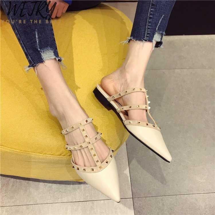 נשים שטוחות להחליק על פרדות מעצבי מותג 2019 אופנה יוקרה מסמרת T שקופיות להחליק על נעלי פרדות