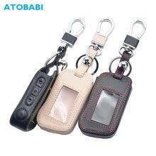 Funda de cuero auténtico para llave de coche, para Starline A93 A63 A36 A39 A66 A96, alarma de coche bidireccional, llavero para mando a distancia, protección, piel