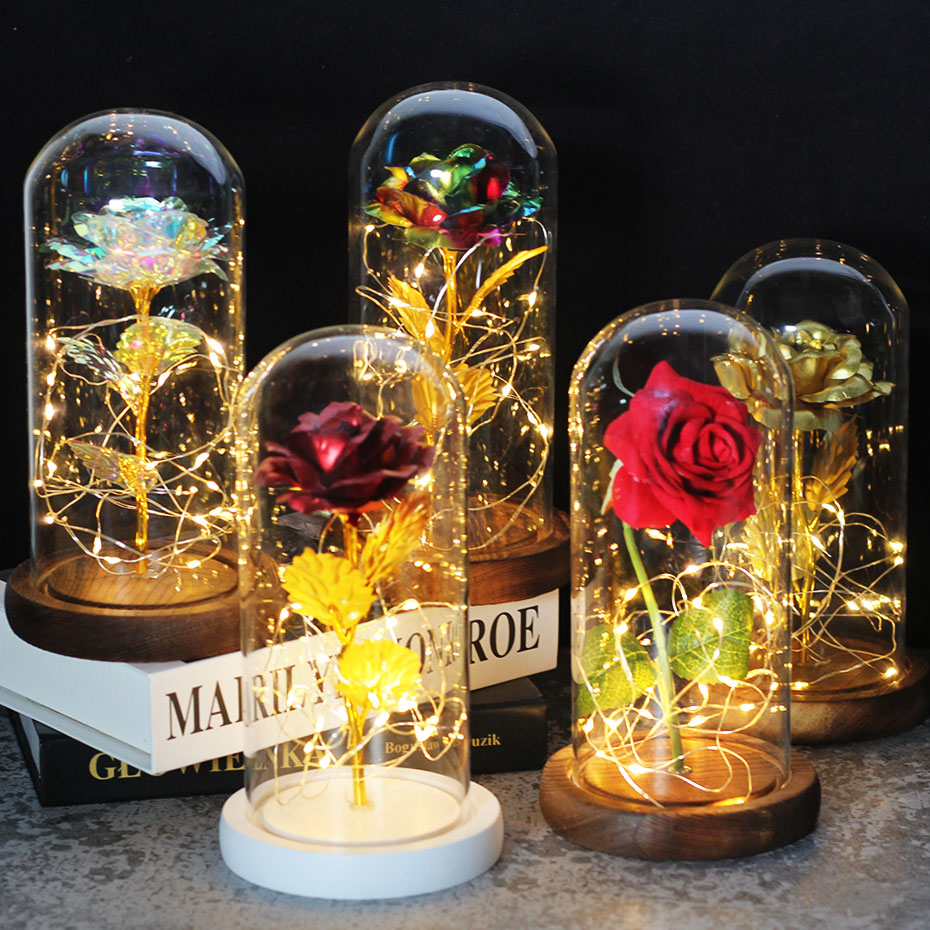 Angraves Yellow Belle Handmade Enchanted Rose in Glass Dome Bell Jar with LED Li