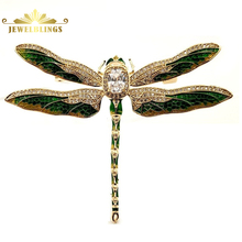 Vintage Green Enameled Oversize Dragonfly Brooches Gold Tone Micro Pave Crystal Winged Big Dragonfly Pins Unisex Insect Jewelry