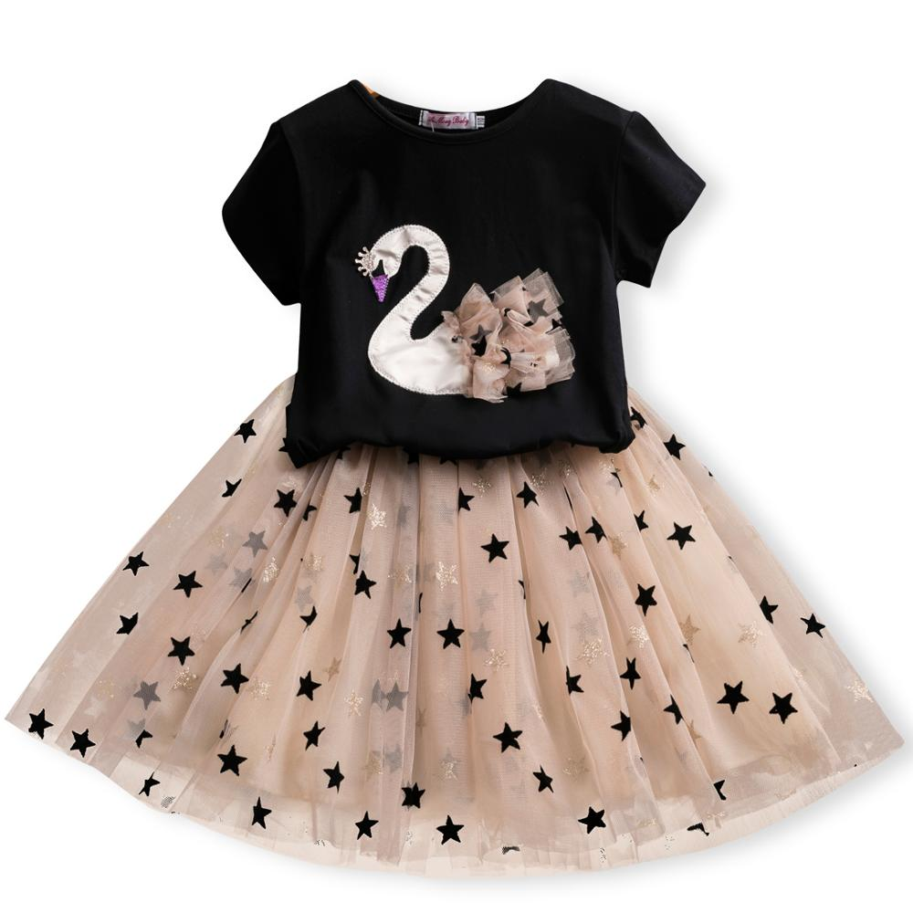Summer New Short Sleeves 2pcs Dress For Girls Cute Flamingo Unicorn Printed Children Cartoon Clothes 3-8Y Kids Dresses Suits