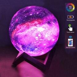 Цветная светодиодная Ночная лампа в виде звезды и галактики с 3D рисунком Луны, неоновый светильник с сенсорным и дистанционным управлением,...