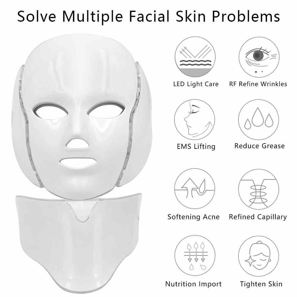 Anti-Aging LED Light Facial หน้ากากผิว Microcurrent ที่มีสีสัน Photon Treatment SPA Beauty กระชับอุปกรณ์ริ้วรอย Acne Therapy