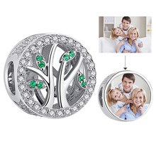 Tree of Life Green Clear CZ Beads Custom Photo Charms fit Bracelet Necklace Women Girls 925 Sterling Silver Fashion Jewelry Gift(China)