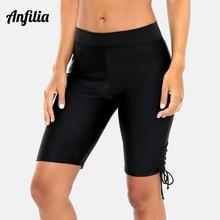 Anfilia Womens Sports Capris Pants Swim Trunks Drawstring Swimwear Briefs Tankini Bpttom Slim Swimsuit Swimming Bottom