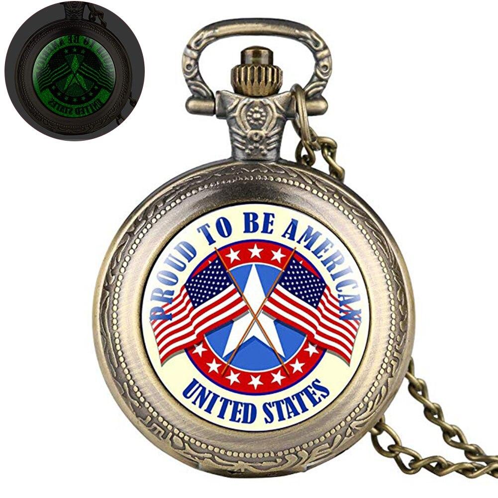 Men Battery Powered Portable Decoration Pocket Watch Engraved Classic Stars Stripes Print Quartz Gift Pendant Removable Chain