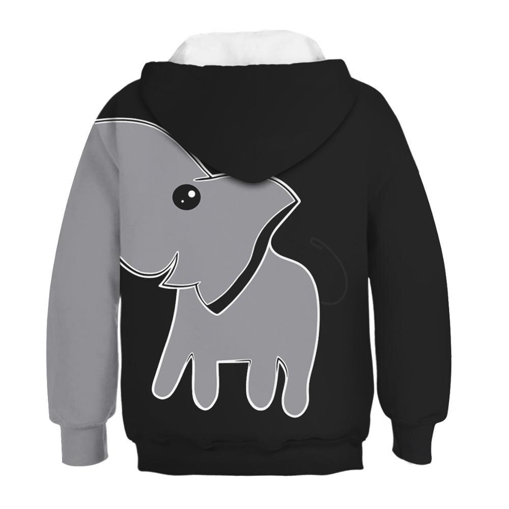 Boys Girls Elephant Teen Youth Hoodie Gray