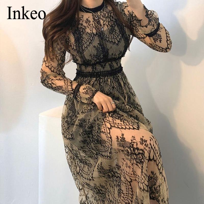 2020 New Women Fashion Lace Dress High Waist Sheer Long Mesh Dress Lace Embroidered Fairy Dress Femme Vestidos Robe INKEO 9D052