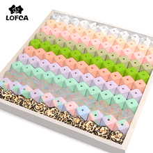 LOFCA 50pcs 17mm Hexagon Silicone Beads for Teething Necklace Pendant Pacifier Chain BPA Free Food Grade Silicone Teething Beads