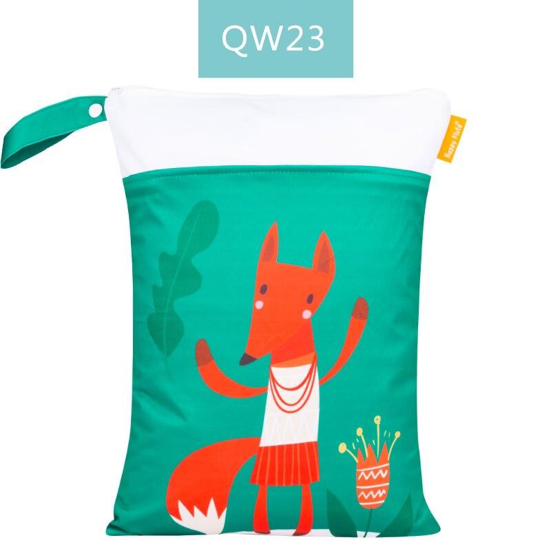 Happy Flute 1 шт. Многоразовые водонепроницаемые модные принты влажная сухая сумка для подгузников двойной карман тканевая Ручка сумки для мокрого плавания 30*40 см - Цвет: ES001QW23