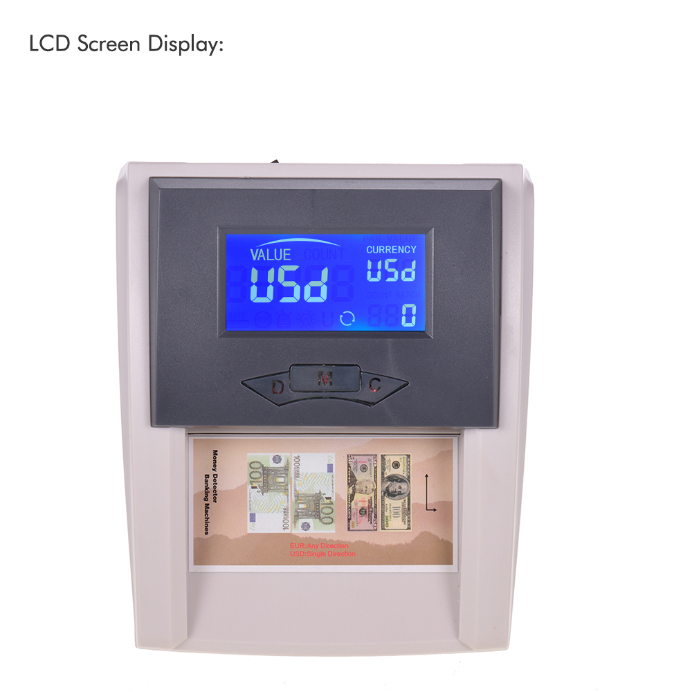 Portable Desktop Countable Automatic Money Detector Counterfeit Cash Currency Banknote Checker Tester With LCD Display