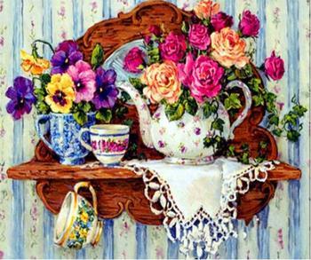 Cocina, bordado de diamantes DIY pintura de diamantes flor y vajilla fruta Daimond pintura punto de cruz Rhinestone decoración de la cocina