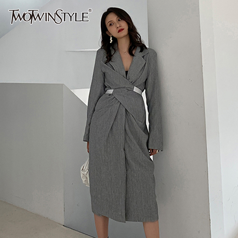 TWOTWINSTYLE Elegant Asymmetrical Summer Dress Women Notched Collar Long Sleeve High Waist Ruched Hit Color Dresses For Female