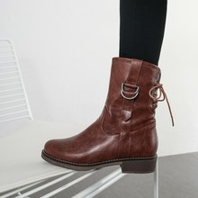 women mid-calf boots low heels autumn lace up shoes woman  vintage  gladiator booties wxz150 цены онлайн
