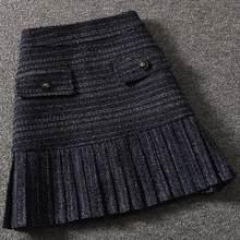 Mini falda pli12v de cintura alta para mujer, falda de lana de tweed con pequeña frastancia vintage para otoño e invierno