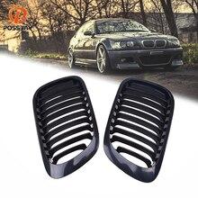 POSSBAY BMW 3 시리즈 E46 323Ci/325Ci/328Ci/ Cabrio 2000 2003 Pre facelift 용 블랙 카 프론트 범퍼 신장 레이싱 그릴 그릴