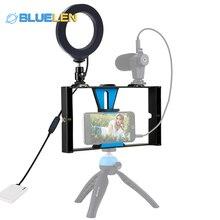 4 в 1 Vlogging прямая трансляция смартфон видео установка+ 4,6 дюймов кольцо светодиодный светильник для селфи комплекты с микрофоном+ крепление штатива