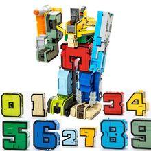 10 шт. крутой робот-трансформер с цифрами 3D модели военных транспортных средств пластиковые головоломки детские развивающие игрушки Детский подарок