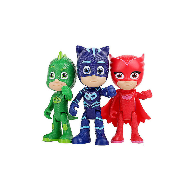 3PCS/SET Pj Masks Cartoon Flexible Limbs Character Toy Sports Pj Catboy Owlette Gekko  Figures Anime Toys Gift For Children 2B03