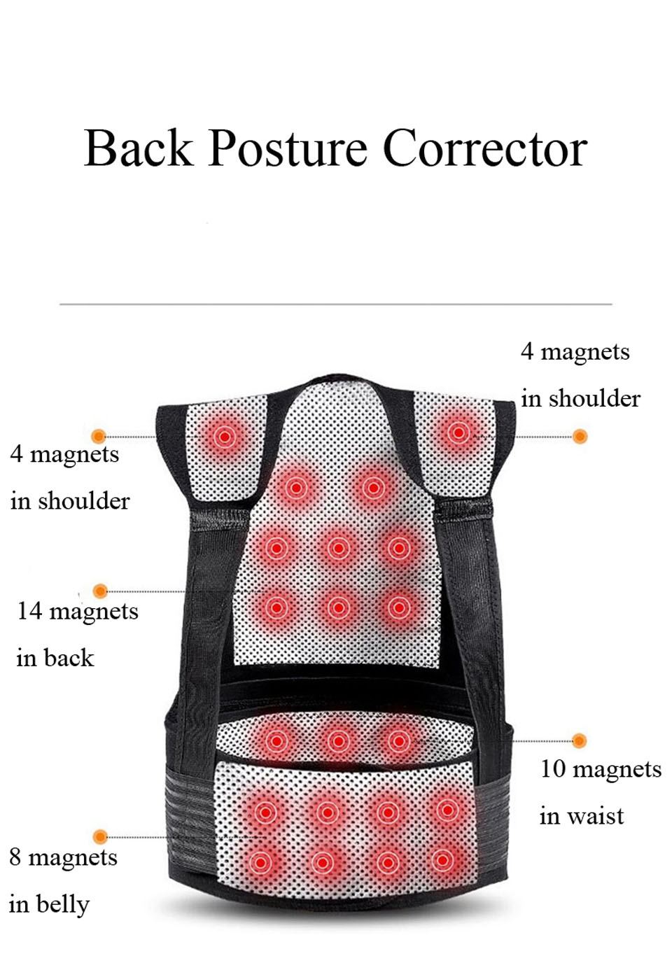 Tourmaline Self Heating Posture Corrector Belt with Nano Infrared Acupuncture Dot Matrix  to Support Spine and Shoulder Helps to Relieve Pain in Back and Joints 10