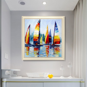 European-style hand-painted Oil Painting Decorative Landscape Mural Office Den Sailing Murals Handmade Custom Large Size