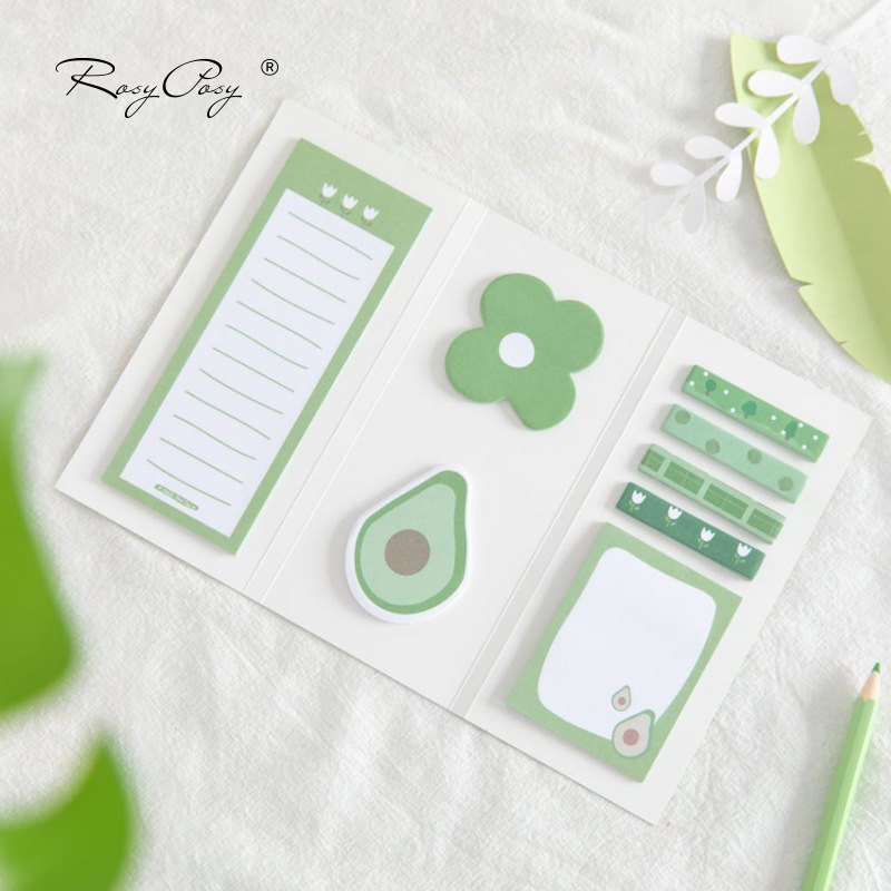 Avocado Design Kawaii Fruit Combination Little Forest Self-Adhesive Memo Pad Sticky Notes Bookmark School Office Supply