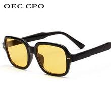 OEC CPO – lunettes de soleil carrées pour hommes et femmes, mode unisexe, petite monture jaune, rétro, à rivets, UV400 O403