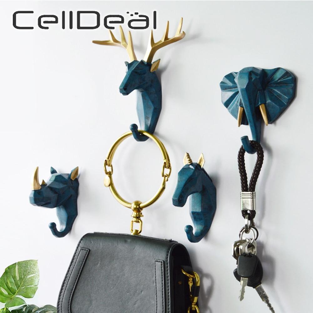1pc Deer Elephant Unicorn Rhinoceros Head Animal Resin Hook Clothing Display Racks Hook Coat Hanger Cap Room Decor Show Wall Bag