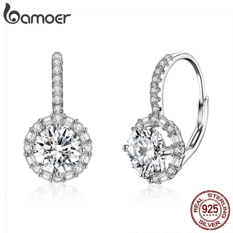 BAMOER Authentic 925 Sterling Silver Dazzling Cubic Zircon Round Zircon Drop Earrings For Women Wedding Silver Jewelry SCE508