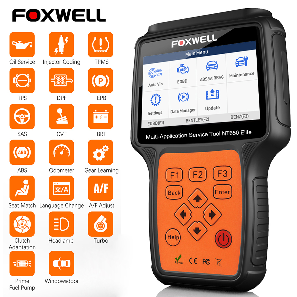 FOXWELL NT650 Elite OBD2 otomotiv tarayıcı ABS SRS DPF yağ sıfırlama kod okuyucu profesyonel araba için OBD teşhis aracı OBD2 tarayıcı