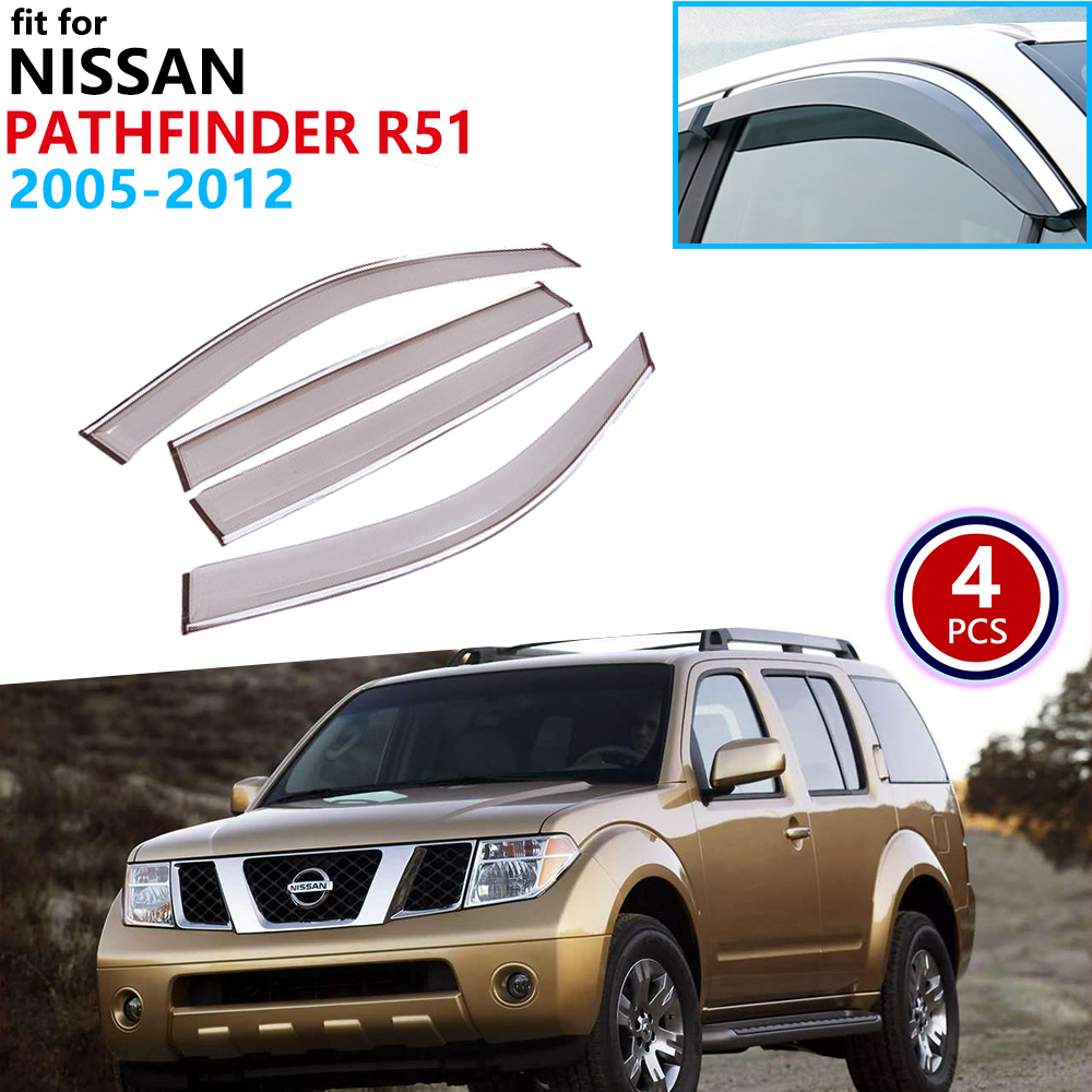 For Nissan Pathfinder R51 2005 2006 2007 2008 2009 2010 2011 2012 Window Visor Vent Awnings Rain Guard Shelters Side Accessories