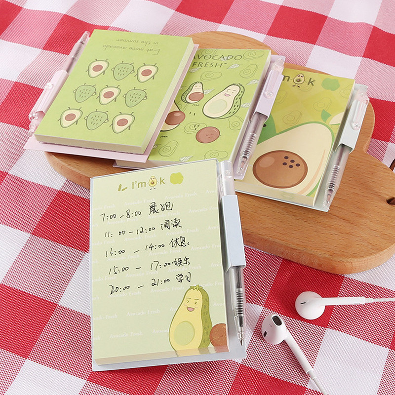 1pcs Kawaii Avocado Pattern with Ballpoint Pen Notepad Diary Book Exercise Book School Office Supply