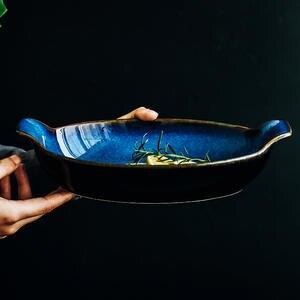 ANTOWALL Fish-Bowl Ceramic Baking Blue Shaped-Plate Cheese-Rice Boat Long Klin
