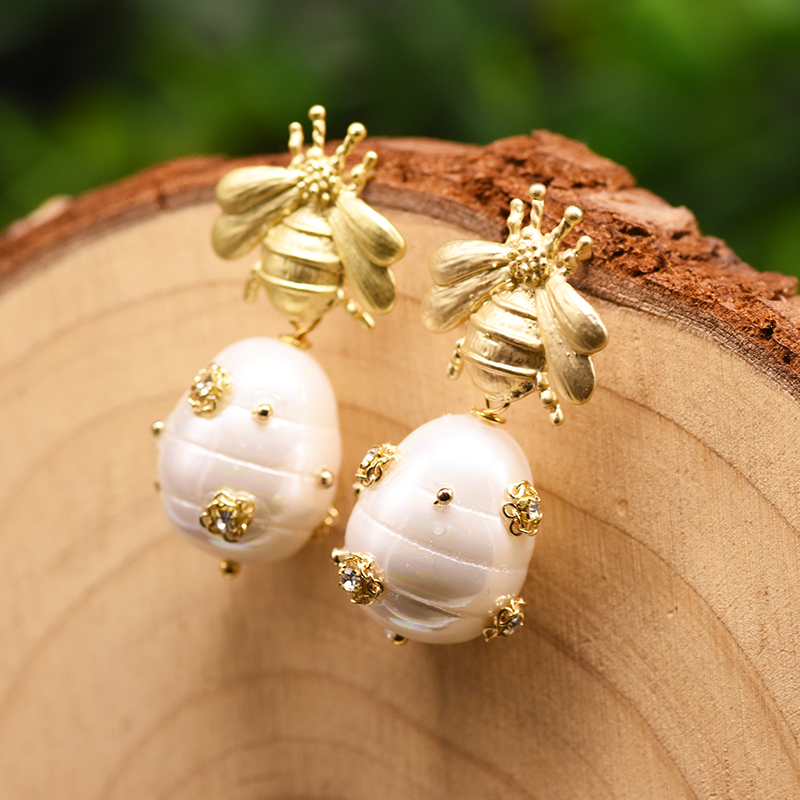 GLSEEVO Original Design Natural Shell Beads Drop Earrings For Women Gift Bee Dangle Earrings Luxury Fine Jewlery GE0665