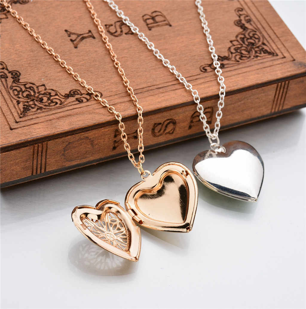 Stijlvolle Memory Ketting Gift Creative Hollow Out Hanger Ketting Dame Elegante Gold Sliver Hart Patroon Hals Chian Jewerly