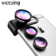 2019 VicTsing 3 in 1 กล้องเลนส์กล้องเลนส์อลูมิเนียม Clip On 180 องศา Fisheye เลนส์ + 0.65X มุมกว้าง + 10X Macro เลนส์สำหรับ iPhone