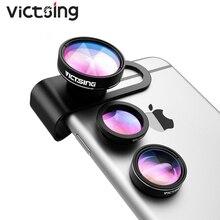 2019 VicTsing 3 in 1 zestaw obiektywów aparatu telefonicznego aluminiowy klips i staje w sytuacji sam na sam 180 stopni obiektyw typu rybie oko + 0.65X szeroki kąt + 10X obiektyw makro dla iPhone