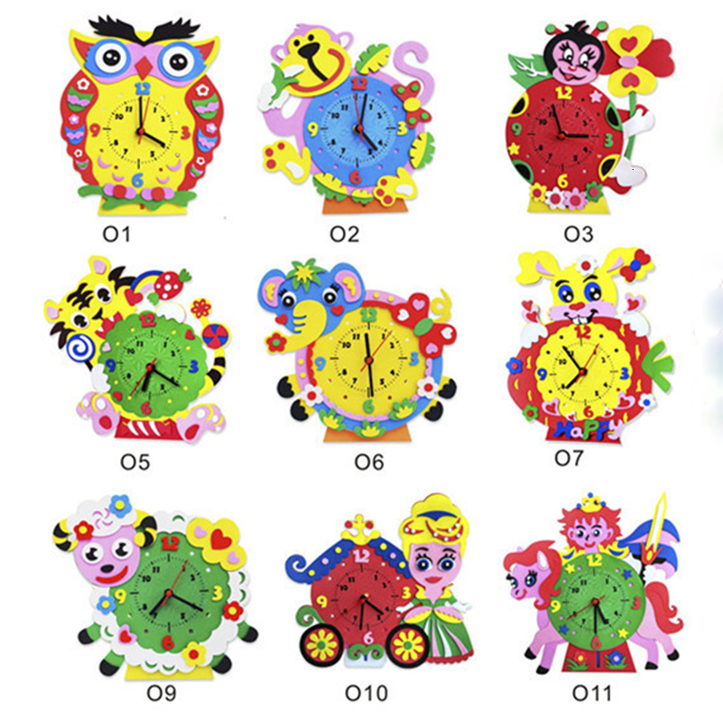 EVA 3D Clock Toys For Children Cute Handmade Animal Learning Puzzle Assembled DIY Creative Educational Art Crafts Toy Girl Gift