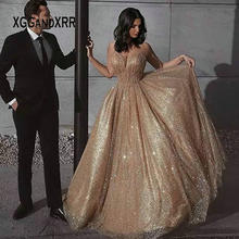 Luxury Glitter Fabric Long Prom Dress 2020 Sweetheart Spaghetti Backless Elegant Evening Party Gown Plus Size Custom Made(China)