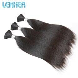 Lekker Steil Haar Bulk 10-30 Indian Hair Remy Human Hair 3 Bulk DIY Haar Bulk Natuurlijke Kleur 100% menselijk Haar Bulk